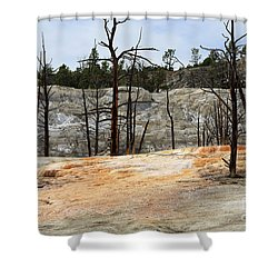 Angel Terrace At Mammoth Hot Springs Yellowstone National Park Shower Curtain by Louise Heusinkveld