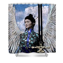 Angel Watercolor Shower Curtain by Suzanne Silvir
