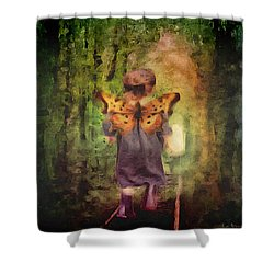 Shower Curtain featuring the digital art Angel Wings by Lisa Noneman