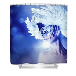 Shower Curtain featuring the photograph Angel Wings Venetian Mask With Feathers Portrait by Dimitar Hristov
