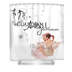 Angel With A Tough Job Shower Curtain