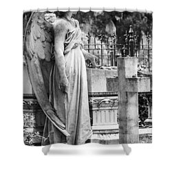 Angel With Cross Of Bonaventure Cemetery Shower Curtain