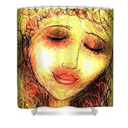 Shower Curtain featuring the digital art Angela by Elaine Lanoue