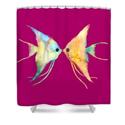 Angelfish Kissing Shower Curtain by Hailey E Herrera