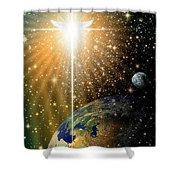 Angelic Star Over Bethlehem Shower Curtain