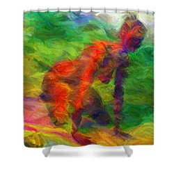 Angelie And The Kneeboard Shower Curtain