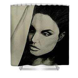 Shower Curtain featuring the drawing Angelina by Michelle Dallocchio
