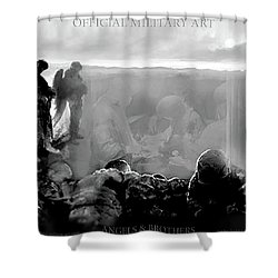 Angels And Brothers Black And White Shower Curtain by Todd Krasovetz