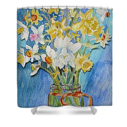 Angels Flowers Shower Curtain