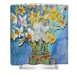 Angels Flowers Shower Curtain by Jan Bennicoff