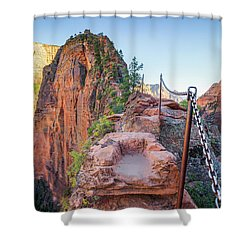 Angels Landing Hiking Trail Shower Curtain by JR Photography