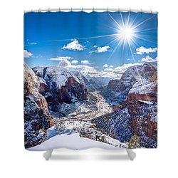 Angels Landing In Winter Shower Curtain
