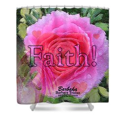 Shower Curtain featuring the photograph Angels Pink Rose Of Faith by Barbara Tristan