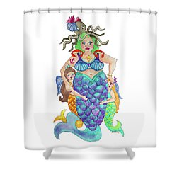 Angels Swim Among Us Shower Curtain