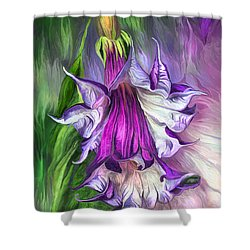 Shower Curtain featuring the mixed media Angel's Trumpet by Carol Cavalaris