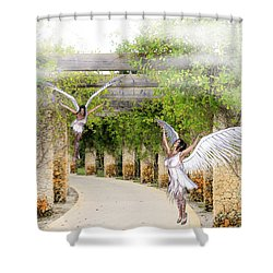 Angels Under The Arbor Shower Curtain