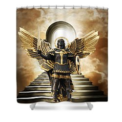 Shower Curtain featuring the digital art Angels Watching Over Me by Karen Showell