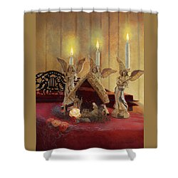 Shower Curtain featuring the painting Angels Watching Over by Nancy Lee Moran