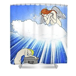 Shower Curtain featuring the digital art Angels Watching Over Us by John Haldane