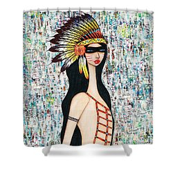 Shower Curtain featuring the mixed media Angeni by Natalie Briney