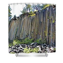 Angle View Desert Postpile Shower Curtain