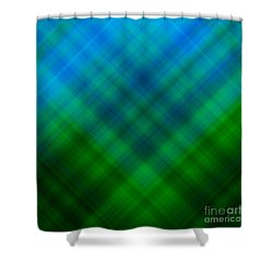 Angled Blue Green Plaid Shower Curtain