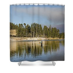 Angler Amidst Gorgeous Surroundings And A Calm River In The Yellowstone In Wyoming Shower Curtain