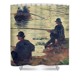 Anglers Shower Curtain by Georges Pierre Seurat