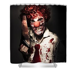 Angry Horror Clown Holding Butcher Saw In Darkness Shower Curtain by Jorgo Photography - Wall Art Gallery