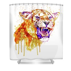 Shower Curtain featuring the mixed media Angry Lioness by Marian Voicu