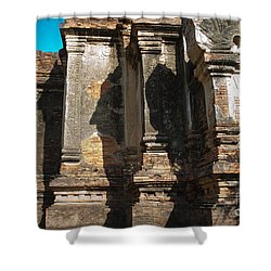 Angular Corner Of Temple In Burma With Sunny Blue Sky Shower Curtain
