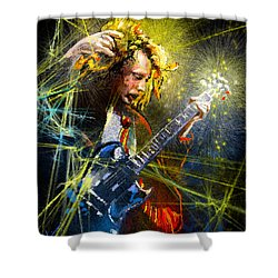 Angus Young Shower Curtain by Miki De Goodaboom
