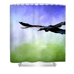 Anhinga In Flight Shower Curtain by Cyndy Doty