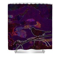 Shower Curtain featuring the digital art Animal Bird Dark Nature Silhouette  by PixBreak Art