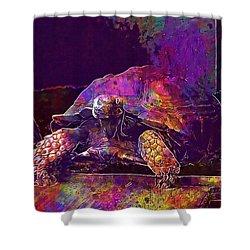 Shower Curtain featuring the digital art Animal Turtle Zoo  by PixBreak Art