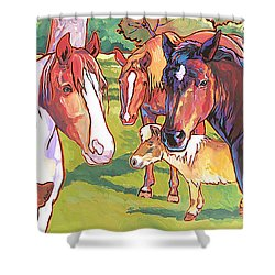 Anjelica Huston's Horses Shower Curtain by Nadi Spencer