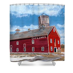 Shower Curtain featuring the painting Anken's Barn by Lynne Reichhart