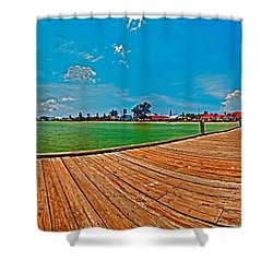 Anna Maria Island Seen From The Historic City Pier Panorama Shower Curtain