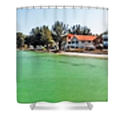 Anna Maria Island With Rod And Reel Pier Shower Curtain