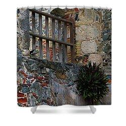 Annaberg Ruin Brickwork At U.s. Virgin Islands National Park Shower Curtain by Jetson Nguyen
