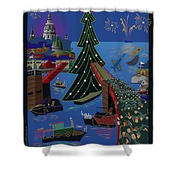 Annapolis Holiday Lights Parade Shower Curtain