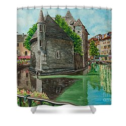 Annecy-the Venice Of France Shower Curtain by Charlotte Blanchard
