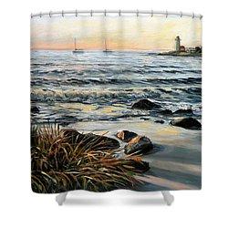 Annisquam Beach And Lighthouse Shower Curtain