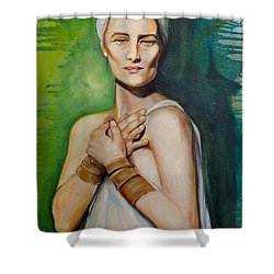 Shower Curtain featuring the painting Annunciation by Irena Mohr