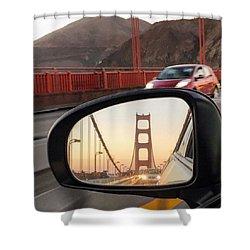 Side Mirror Golden Gate Bridge Shower Curtain by Eugene Evon