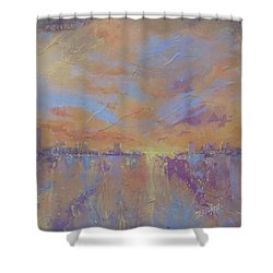 Shower Curtain featuring the painting Another Dimension by Laura Lee Zanghetti