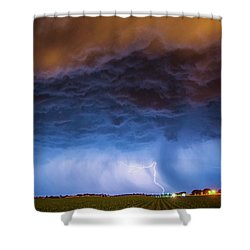 Another Impressive Nebraska Night Thunderstorm 008/ Shower Curtain