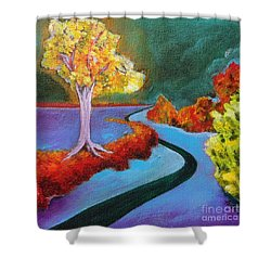 Golden Aura Shower Curtain by Elizabeth Fontaine-Barr