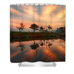 Cloud Ripples Shower Curtain by Lauren Fitzpatrick