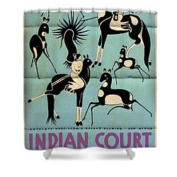 Antelope Hunt From A Navaho Drawing Exhibition - Vintage Poster Folded Shower Curtain